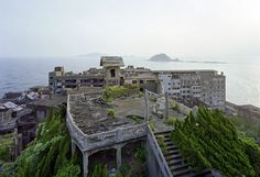 Hashima Island, Japan. Also known as Gunkanjima or Battleship Island, as it's remaining geometric silhouette resembles a dark grey hull.