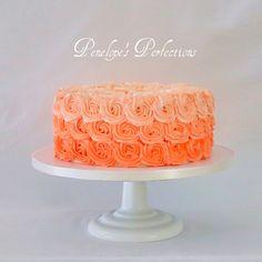 Ombré Peach buttercream cake