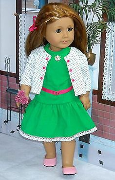 Contemporary Green Dress Set Made by KMK Fits Popular 18 inch American Dolls | eBay. Sold 2/23/14 for $49.00.