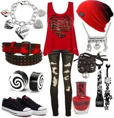 Red Thick-Strap Tank Top W/ Doodle Heart, Black Ripped Skinny Jeans, Red Beanie, Charm Necklace & Bracelet, Black Converse, & Black & White Swirled Gauges