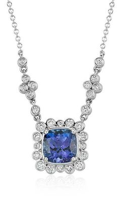 This whimsical tanzanite and diamond necklace is a stunning 'something blue' for your special day