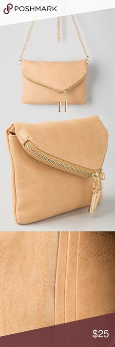 Taupe Crossbody Clutch Taupe colored cross body clutch from Francesca's. Never used! Francesca's Collections Bags Crossbody Bags