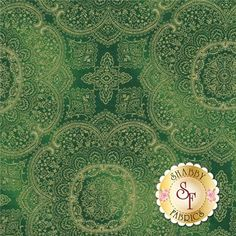 """Majesty 1964-Green By Timeless Treasures Fabrics: Majesty is a collection by Timeless Treasures Fabrics. This fabric features metallic gold medallions on a mottled green background. Width: 44""""/45""""Material: 100% CottonSwatch Size: 6"""" x 6"""""""