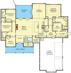 **like it all but the garage. Need walk-in closet s in kids room. New American Modern Farmhouse Plan with Optional Finished Lower Level - floor plan - Main Level Best House Plans, Dream House Plans, House Floor Plans, Dream Houses, Barn Houses, Metal Shed Roof, Modern Farmhouse Plans, Farmhouse Decor, Farmhouse Style