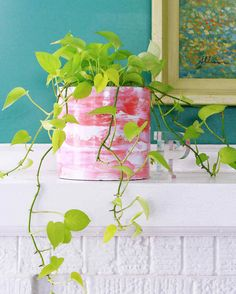 In a technique often used to decorate cakes, give your container garden a swirl of bright color and pattern with these painted pots. #marthastewart #diydecor #diyprojects #diyideas