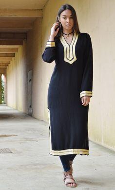 Autumn TREND | Black Mariam Kaftan- caftan, kaftan, loungewear, resortwear, beach cover ups, birthday gifts, moroccan kaftan by MaisonMarrakech on Etsy