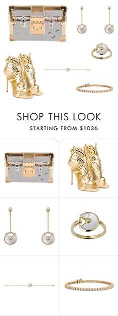 """Louis Vuitton x Giuseppe Zanotti"" by shamma-as ❤ liked on Polyvore featuring Louis Vuitton, Giuseppe Zanotti, Cartier, Blue Nile, gold, Silver, GiuseppeZanotti, louisvuitton and metallic"