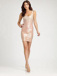 Herve Leger Sequined Bandage Dress Sale $1,350.00 Original $2,250.00 #SaksFifthAvenue