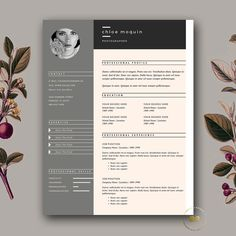 Elegant Resume Template | 3-page CV Template + FREE Cover Letter Template for MS Word & iWork Pages | Instant Digital Download ★ BotanicaPaperieShop