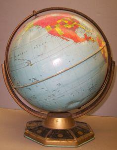 9 Inch World Globe, Globe Maker: J. Chein & Company; (Published:  c1955. Burlington, N.J.)