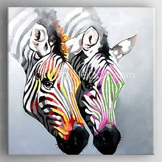 olieverf kleur zebra de hand beschilderd doek met gestrekte frame klaar te hangen 3772837 2016 – €91.13