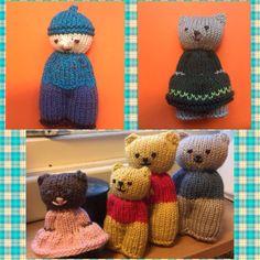 SMÅ STRIKKEDE DUKKER/BAMSER – eller Lommevenner – Bonzostrikk's Blog Knitting For Kids, Loom Knitting, Knitting Toys, Loom Patterns, Knitting Patterns, Peacock Crochet, Diy Nightstand, Bra Storage, Club