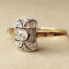 Antique French 14k Gold Rose Cut Diamond Art Deco Engagement Ring Approximate Size US 7