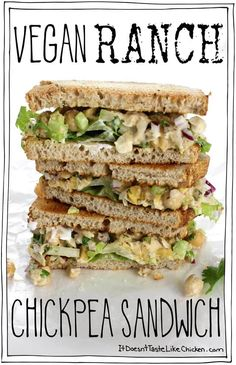 Creamy zesty easy-to-make vegan ranch dressing takes this. Creamy zesty easy-to-make vegan ranch dressing takes this sandwich to the next level! Perfect for work or school. Vegan Sandwich Recipes, Best Vegan Recipes, Beef Recipes, Whole Food Recipes, Vegetarian Recipes, Cooking Recipes, Healthy Recipes, Vegan Sandwiches, Chickpea Recipes