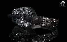 Crystal Rocked Sennheiser black Swarovski headphones 1