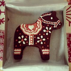 Gingerbread Dala Horse decorated by me. Makes great Christmas gifts. :)