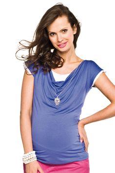 Krátké fialové těhotenské tričko na kojení V Neck, Tops, Fashion, Moda, Fashion Styles, Fashion Illustrations