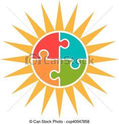 Sun Puzzle Autism Logo Vector Concept. - csp40047858