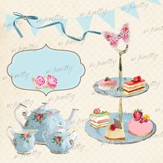 Vintage English Tea digital Card  -  Printable / download shabby elegance style set