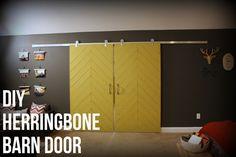East Coast Creative: How to make your own barn doors. Rustic Industrial Bedroom Makeover {Knock It Off} #DIY #bedroom #herringbone #barndoor #door