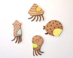 Happy ocean creatures   Wooden Magnets Set of 4 by SombrillaVerde