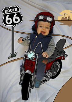 León de Mayor quiere ser Motero. Fotografia & Ilustración Creativa de bebés y niños soñadores. bebé baby