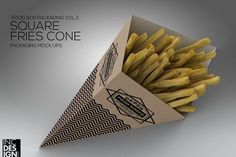Square Fries Cone Packaging Mock Up by INC Design on @creativemarket