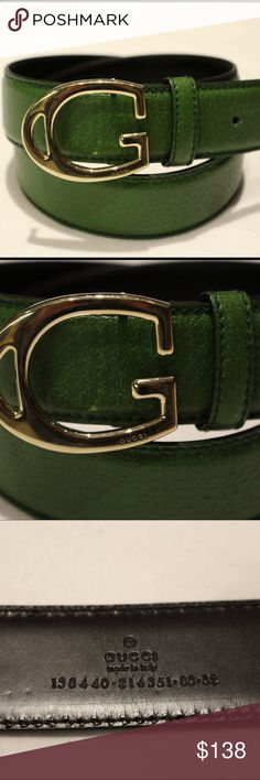 """Gucci Belt Excellent condition Gold hardware 100% Leather Smallest belt hole is 30.5"""" in length Longest belt hole is 32.5"""" in length Belt is 37"""" in length  - price firm no trades, buy for less and free shipping at www.chicboutiqueconsignments.com Gucci Accessories Belts"""