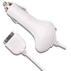 Oriongadgets Car Charger for Apple iPhone 4 (White): http://www.amazon.com/Oriongadgets-Charger-Apple-iPhone-White/dp/B003TRELC4/?tag=done0d4-20