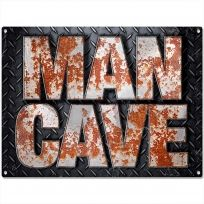 Man Cave Rusty Letters Diamond Plate Metal Sign