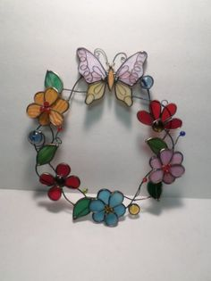 Butterfly and Flower Stained Glass #StainedGlassButterfly