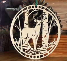 Wooden Deer in Aspen grove wood cut decoration Buck Deer