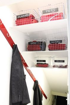 Space saving basement storage: staggered shelves on the way down the stairs