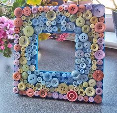 Mosaic Button Picture Frame. $19.00, via Etsy.