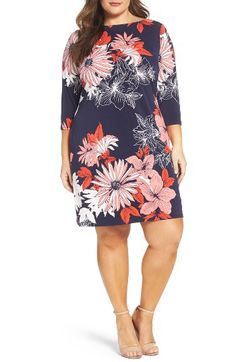 96b86164a448a Vince Camuto Vince Camuto Floral Crepe Shift Dress (Plus Size) available at   Nordstrom