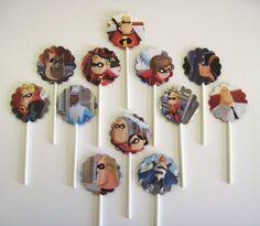 THE INCREDIBLES - Disney Pixar - Cupcake Toppers - Set of 12