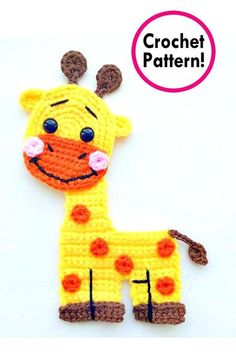 Projects Animals giraffe applique Crochet pattern, cute applique pattern for bags, crafting, scrapbooking and nursery wall art! Appliques Au Crochet, Crochet Applique Patterns Free, Baby Applique, Crochet Animal Patterns, Stuffed Animal Patterns, Baby Knitting Patterns, Crochet Motif, Crochet Animals, Crochet Yarn