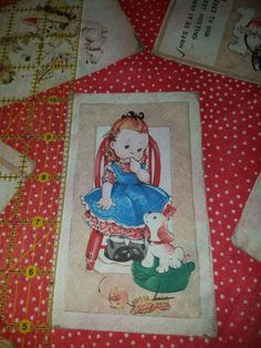 Quilting Panel //Girl/'s fabric// child/'s fabric //Vintage pattern//Linen-Cotton//