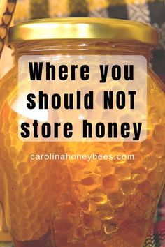 You may be surprised to know that improper storage of honey is a common occurrence. But there is on place you should never store honey! Learn how to store honey properly. Honey Bee Hives, Honey Bees, Honey Store, Bee Facts, Beekeeping For Beginners, Honey Benefits, Yogurt And Granola, Backyard Beekeeping, Bee Friendly
