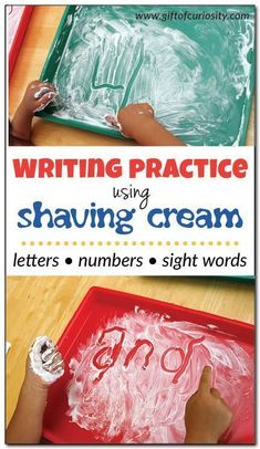 Shaving cream writing - learning through sensory play