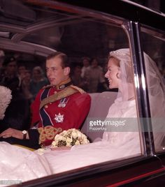 The Duke of Kent and his new bride, Katharine Duchess of Kent (nee Worsley) after their wedding at York Minster on 8th June 1961.
