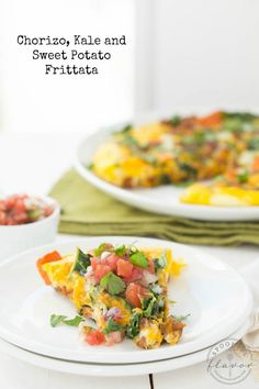 Chorizo, Kale and Sweet Potato Frittata is full of hearty veggies and is perfect for breakfast or dinner!