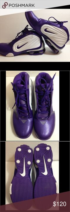 Men's Nike Shox Purple basketball shoes Men's Nike Shox Purple basketball shoes.  Like new condition *except small paint drop* as seen in last pic.  No other scuffs, stains, rips or tears.  Absolutely no odors or signs of wear. Nike Shoes Athletic Shoes
