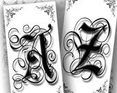 Alphabet letters digital collage sheet 1x2 inch domino images jewelry making paper supplies art black and white (128) BUY 3 GET 1 FREE Part of an TAGT team Etsy treasury, click to see more.