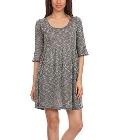 Charcoal Scoop Neck Empire-Waist Dress - Plus #zulily #zulilyfinds