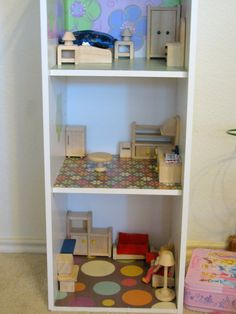 Convert a 3 shelf bookcase into a doll house or super hero house for boys