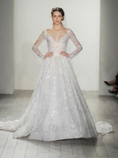 Lazaro Fall 2017 long sleeve lace wedding dress with v-neck and full lace skirt