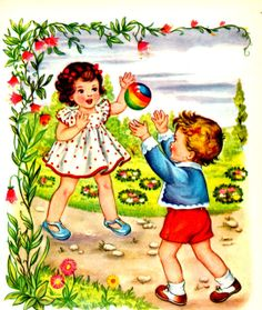 Children old books and cards Vintage Fur, Vintage Prints, Vintage Posters, Retro Kids, Vintage Pictures, Vintage Images, Children Images, Old Postcards, Cute Illustration