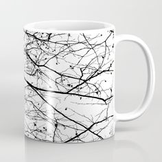 Branches Mug by ARTbyJWP from Society6 #mug #coffeemug #mugs #blackandwhite #minimal  ----Available in 11 and 15 ounce sizes, our premium ceramic coffee mugs feature wrap-around art and large handles for easy gripping. Dishwasher and microwave safe, these cool coffee mugs will be your new favorite way to consume hot or cold beverages.
