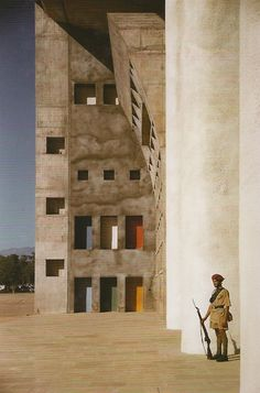 Le Corbusier - Guard at the High Court building in the Capitol Complex, Chandigarh 1955.